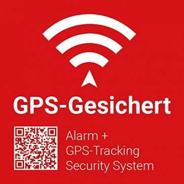 5x GPS-Gesichert / Alarmgesichert Warn-Aufkleber mit UV-Schutz, 5x5cm Aussenklebend