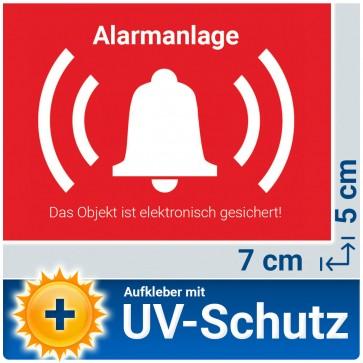 5x Aufkleber Alarmanlage mit UV-Schutz, Aussenklebend, 7x5cm