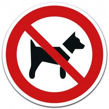 Aufkleber Hunde verboten, Ø 12 cm gemäß ISO 7010, P022