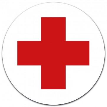 Aufkleber DRK Rotes Kreuz Ø 12 cm für Verbandskasten oder Medizinschrank, Erste Hilfe mit UV-Schutzlaminat