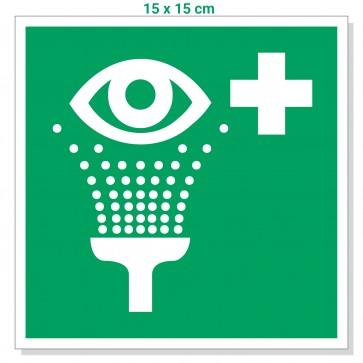 Aufkleber Augenspüleinrichtung 15x15cm, Zeichen Augendusche / Augenspülung / Notdusche
