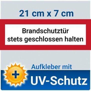 Aufkleber Brandschutztür stets geschlossen halten, mit UV-Schutz, 21x7cm