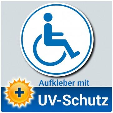 Aufkleber Rollstuhlfahrer Ø 12cm weiß blau, Rollstuhlaufkleber, Behindertenaufkleber