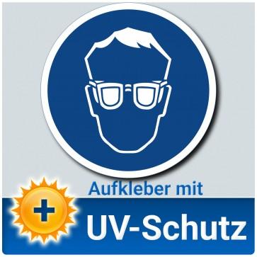 Augenschutz benutzen Aufkleber Schild, Gebotszeichen, ∅ 14 cm