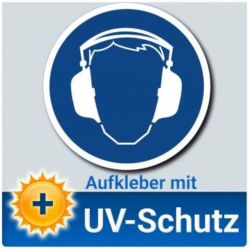 Gehörschutz benutzen Aufkleber Schild, ∅ 14 cm, Gebotszeichen