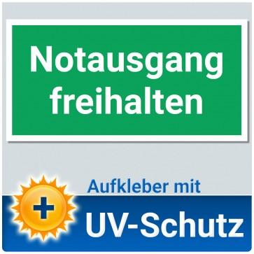 Notausgang freihalten Aufkleber Schild, 20x10cm mit UV-Schutz, Notausgangsschild