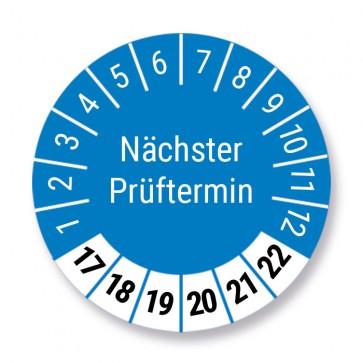 """Prüfplakette """"Nächster Prüftermin"""", blau, Ø 30mm, 1000 Stück, Jahr 2017 bis 2022 mit UV-Schutzlaminat, Prüfetikett, Prüfaufkleber"""