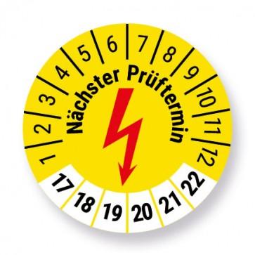 e-Check / Elektro Prüfplakette Aufkleber, Elektrocheck, gelb, Ø 30mm, Jahr 2017 bis 2022 mit UV-Schutzlaminat, Prüfetikett, Prüfaufkleber