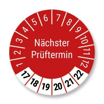 """Prüfplakette """"Nächster Prüftermin"""", rot, Ø 30mm, 1000 Stück, Jahr 2017 bis 2022 mit UV-Schutzlaminat"""