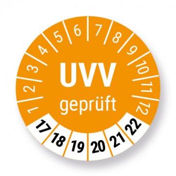 """""""UVV geprüft"""" Prüfplakette / Aufkleber / Prüfetikett / Prüfaufkleber, Ø 30mm, Jahr 2017 bis 2022 mit UV-Schutzlaminat"""