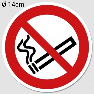 Aufkleber Rauchen verboten Ø 14cm, Rauchverbot Nichtraucher UV-Schutz (Outdoor geeignet)