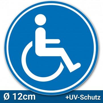 Aufkleber Rollstuhlfahrer Ø 12cm, Rollstuhl Symbol / Zeichen, Parken mit Behinderung, Rollstuhlaufkleber, Behindertenaufkleber, Rollstuhlzeichen, Autoaufkleber