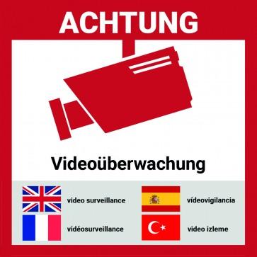Aufkleber Videoüberwacht mehrsprachig | 9*9cm | Hochwertig mit UV-Schutz, 5 Sprachen, Schilder Videoüberwachung
