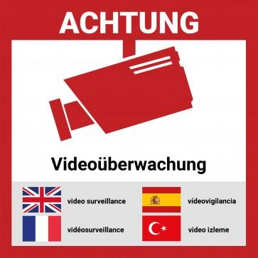 Aufkleber Videoüberwacht mehrsprachig | 12 Stück - 5*5cm | Hochwertig mit UV-Schutz, 5 Sprachen, Schilder Videoüberwachung