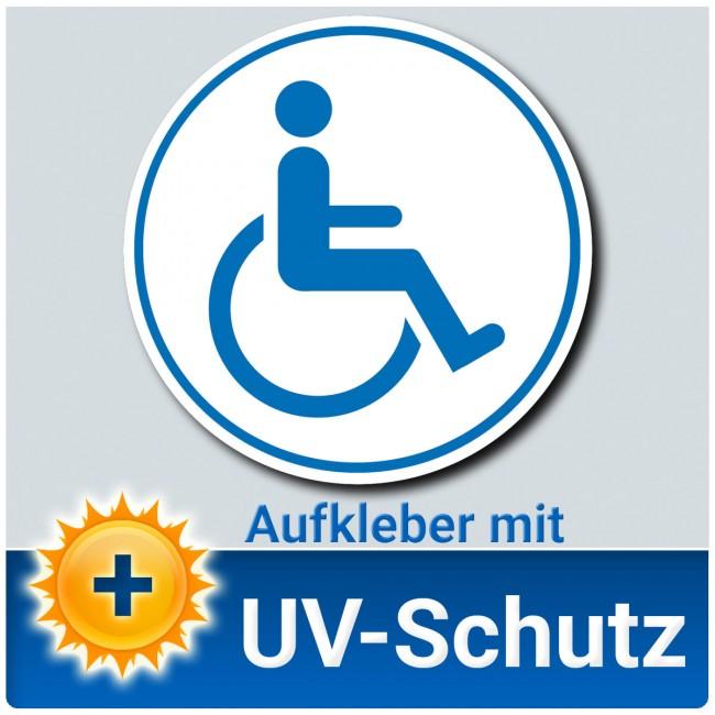 Aufkleber Rollstuhlfahrer ø 12cm Weiß Blau Rollstuhlaufkleber Behindertenaufkleber
