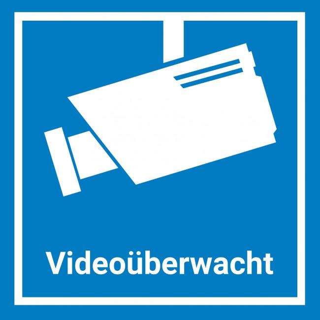 6x Videoüberwachung Aufkleber Sticker 15x15cm Blau Warnaufkleber Kamera Mit Uv Schutz