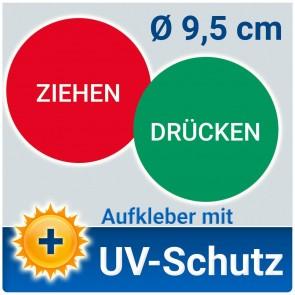 Aufkleber Türschild Drücken und Ziehen (einzeln), Ø 9,5 cm mit UV-Schutz PVC