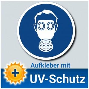 Atemschutz benutzen Aufkleber Schild, Gebotszeichen, ∅ 14 cm