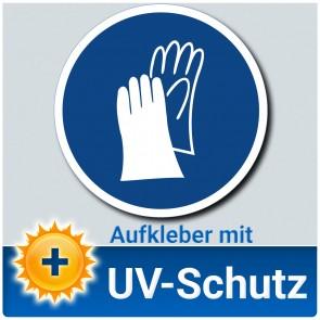 Handschutz benutzen Aufkleber Schild, Gebotszeichen, ∅ 14 cm