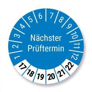 """Prüfplakette """"Nächster Prüftermin"""", blau, Ø 30mm, 10 Stück, Jahr 2017 bis 2022 mit UV-Schutzlaminat, Prüfetikett, Prüfaufkleber"""