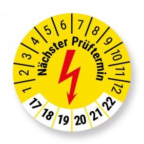 e-Check / Elektro Prüfplakette Aufkleber, Elektrocheck, 50 Stück, gelb, Ø 30mm, Jahr 2017 bis 2022 mit UV-Schutzlaminat, Prüfetikett, Prüfaufkleber