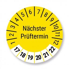 """Prüfplakette """"Nächster Prüftermin"""", gelb, 100 Stück, Ø 30mm, Jahr 2017 bis 2022 mit UV-Schutzlaminat, Prüfetikett, Prüfaufkleber"""