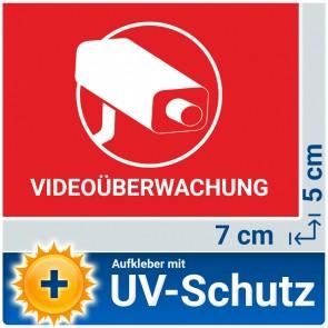 5x Videoüberwachung Aufkleber mit UV-Schutz, 7x5cm