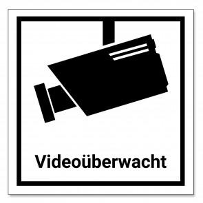 6 Stück Videoüberwachung Aufkleber / Schild (7,5x7,5cm), schwarz/weiß